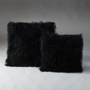 Tibetan Lambs Wool Cushion - Jet Black  - X-Large - 600 x 600