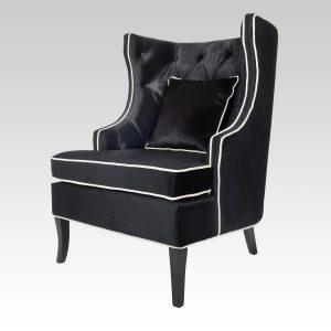 Diamond Pleated Wingback Arm Chair - Midnight Black