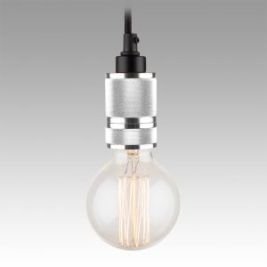 Exposed Bulb Pendant - Chrome Silver