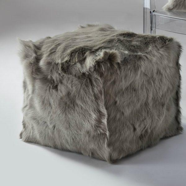 Goatskin Pouf - Soft Grey
