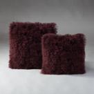 Tibetan Lambs Wool Cushion - Burgundy Rose   X-Large 600 x 600