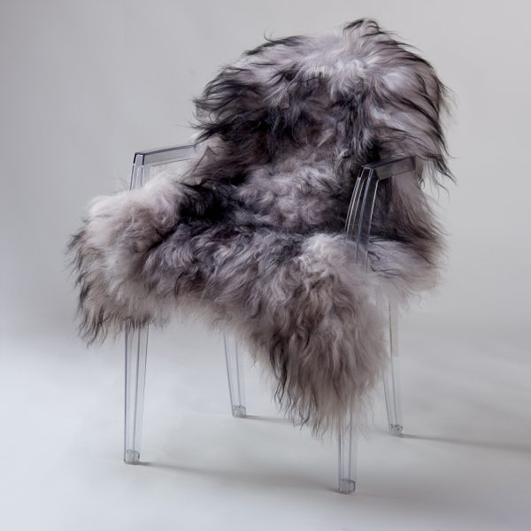 Icelandic Sheepskin #501 - Black on Grey
