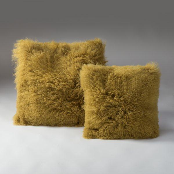 Tibetan Lambs Wool Cushion - Honey Mustard  - X-Large - 600 x 600
