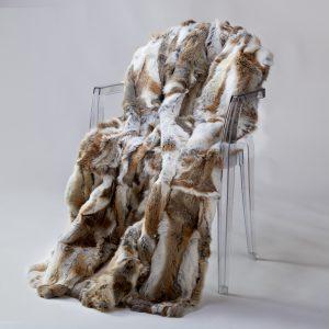 Rabbit Fur Throw - Brindle & White (Queen)