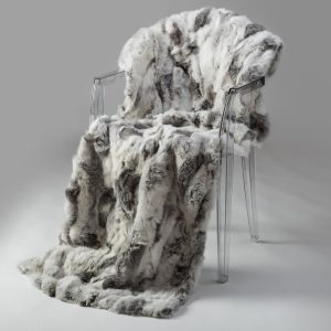 Rabbit Fur Throw - Grey & White (Queen)