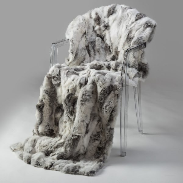 Rabbit Fur Throw - Grey & White (Super King)