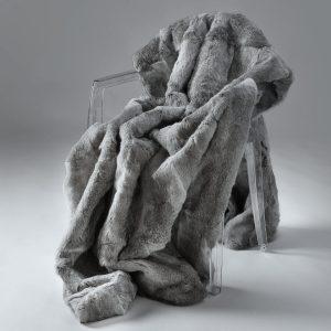 Rabbit Fur Throw - Natural Grey (Super King)