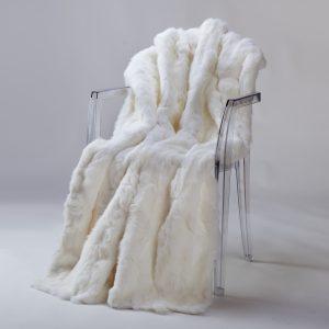 Rabbit Fur Throw - Pure White (Queen)