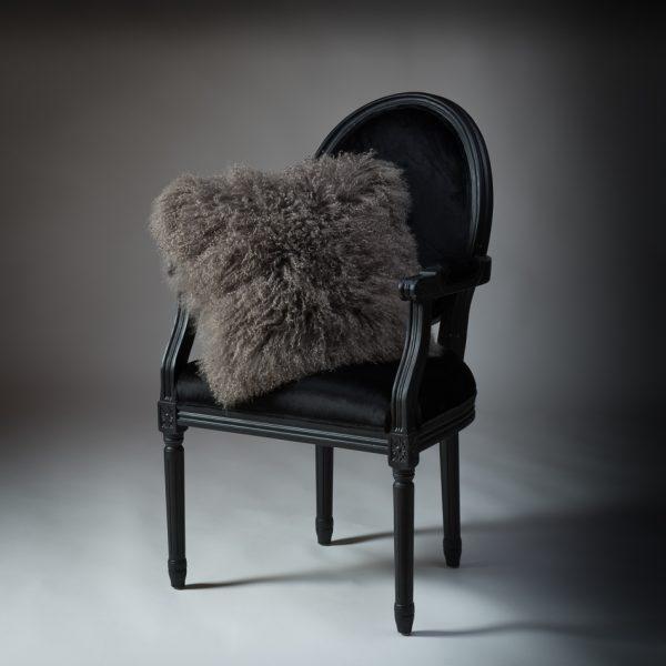 Tibetan Lambs Wool Cushion - Taupe Grey - 450 x 450 (square)