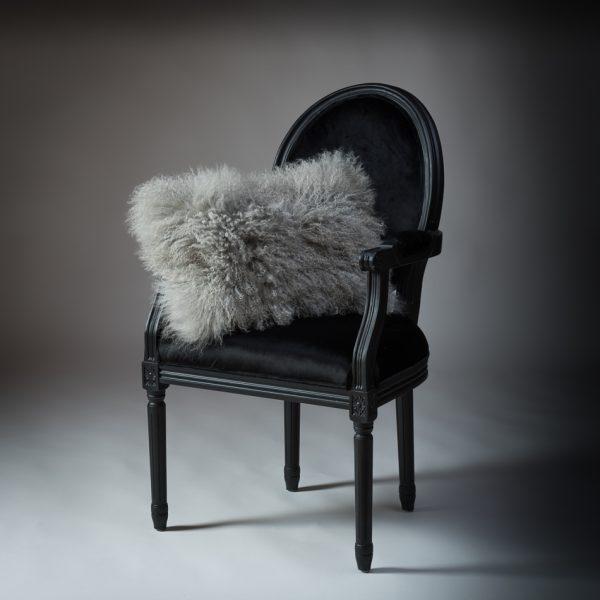 Tibetan Lambs Wool Cushion - Steel Grey - 300 x 500 (rectangle)