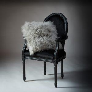 Tibetan Lambs Wool Cushion - Steel Grey - 450 x 450 (square)