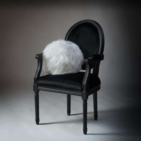 Tibetan Lambs Wool Cushion - White (round)